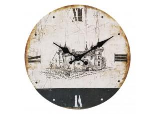 Vintage nástěnné hodiny se zámkem a patinou – Ø 30*3 cm / 1*AA