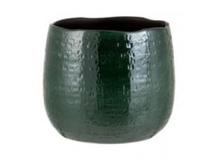 Tmavě zelený vzorovaný obal na květináč Seraphine L - 24*26,5*22 cm