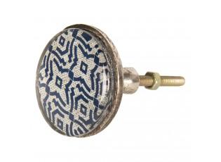 Kovová úchytka s modrým ornamentem I – Ø 5*8 cm