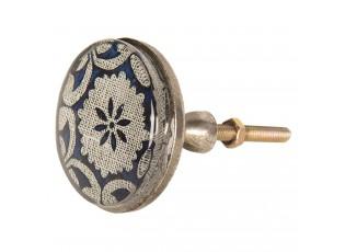 Kovová úchytka s modrým ornamentem III – Ø 5*8 cm