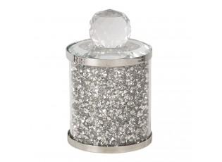 Zdobná skleněná nádoba/ šperkovnice s víkem - Ø 6*10 cm