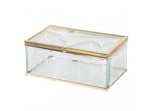 Šperkovnice ze skla s motivem listů se zlatým lemováním Godelieve - 14*8*6 cm