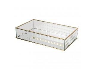 Šperkovnice ze skla se zlatým kovovým lemováním Heloise - 29*17*6 cm