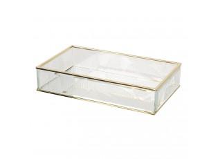 Šperkovnice ze skla se zlatým lemováním Godelieve - 24*14*5 cm