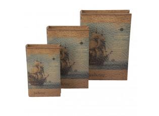 3 ks dekorativní krabičky v podobě knih - 30*21*7/26*17*5/21*13*3 cm