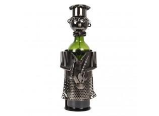Kovový držák na láhev vína v designu kuchaře Chevalier - 10*12*20 cm