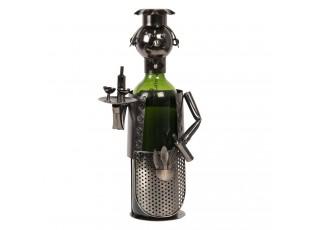 Kovový držák na láhev vína v designu číšníka Chevalier - 10*12*20 cm