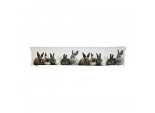 Bílý válecí polštář / zarážka do okna s králíčky Rabbi - 20*10*90cm
