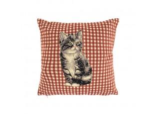 Gobelínový polštář Šedá kočka - 32*15*32 cm