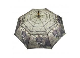 Šedý deštník s motivem švýcarské krávy - 105*105*88cm
