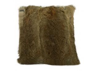 Polštář z králičí kůže Rabbi hnědá - 40*40*10cm