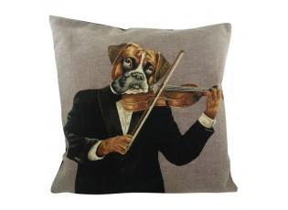 Gobelínový polštář Pes s houslemi - 45*15*45 cm