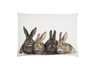 Bílý bavlněný polštář s králíčky Rabbi - 50*70*10cm
