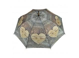 Deštník dřevěné srdce Wooden heart  - 105*105*88cm