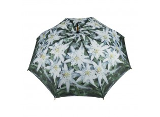 Deštník s květy Edelweiss a dřevěnou rukojetí  - Ø 105*88cm
