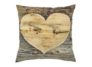 Plátěný polštář dřevěné srdce Wooden heart - 50*10*50cm