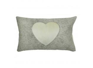 Šedý kožený polštář se srdcem (bos taurus taurus) - 50*30*5cm