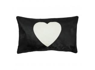 Černý kožený polštář se srdcem (bos taurus taurus) - 50*30*5cm