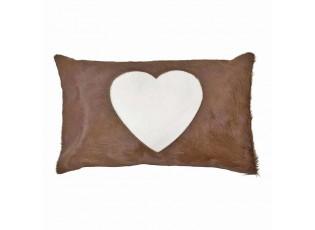 Hnědý kožený polštář se srdcem (bos taurus taurus) - 50*30*5cm