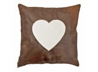 Hnědý kožený polštář se srdcem (bos taurus taurus) - 45*45*5cm