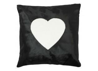 Černý kožený polštář se srdcem (bos taurus taurus) - 45*45*5cm