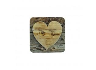 6ks pevné korkové podtácky dřevěné srdce Wooden heart - 10*10*0,4cm