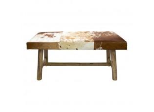 Dřevěná lavice s koženým sedákem Cowny bílá/hnědá - 95*40*45cm