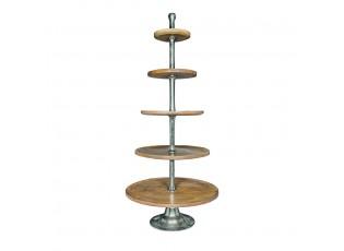 Dřevěno-kovový 5-patrový etažér Aneth - Ø 75*170cm
