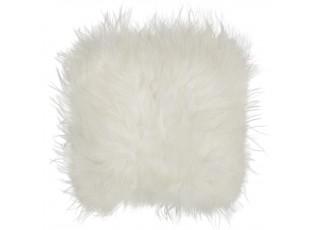 Kožený bílý podsedák dlouhý chlup Iceland white - 37*37*15cm