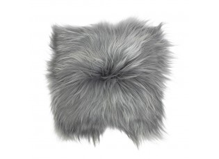 Kožený šedý podsedák dlouhý chlup Iceland grey - 37*37*15cm
