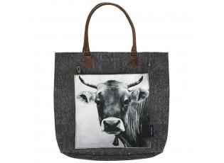 Černá bavlněná kabelka švýcarská kráva - 49*42*10cm