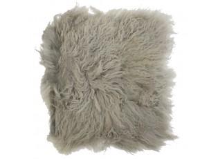 Kožený šedý podsedák dlouhý chlup Curly hair - 40*40*2cm