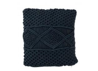 Tmavě modrý polštář s výplní Macrame - Ø 45*10 cm