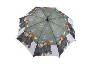Deštník s dřevěnou rukojetí švýcarská kráva - 105*105*88cm