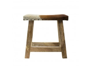 Dřevěná stolička s koženým sedákem Cowny bílá/hnědá - 45*26*46cm