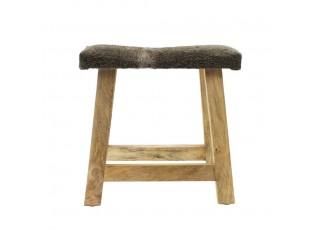 Krátká dřevěná lavice s hnědo šedým podsedákem z hovězí kůže - 45*26*46cm