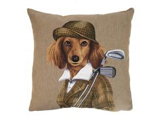 Gobelínový polštář Pes golfista - 45*45*15 cm