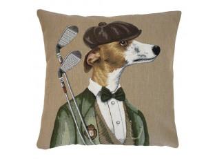 Gobelínový polštář Greyhound golfista - 45*45*15 cm