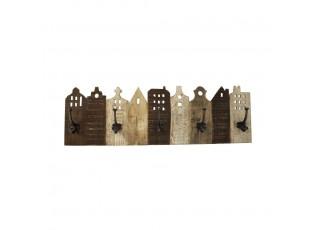 Nástěnný vintage dřevěný věšák řada domů s háčky - 81*25*10cm