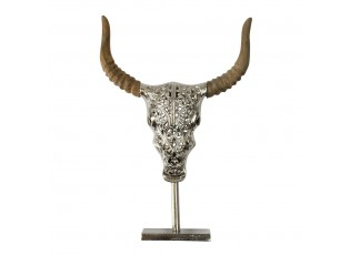 Lebka býka na podstavci s dřevěnými rohy - 47*32*6,5cm