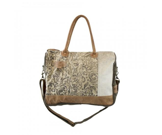 Kožená vintage kabelka s ornamenty - 43*23*9cm