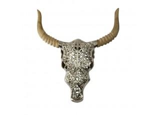 Nástěnná kovová lebka býka s dřevěnými rohy  - 44*40*8cm