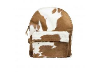 Bílo - hnědý kožený batoh Cowiny  - 30*13*39cm