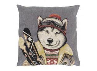 Gobelínový polštář Husky lyžař - 45*15*45cm