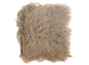 Kožený béžový podsedák dlouhý chlup Curly beige - 40*40*2cm
