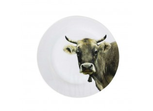 Porcelánový jídelní talíř s motivem krávy -  Ø 27*3cm