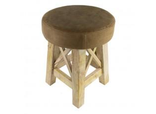 Dřevěná kulatá stolička s koženým sedákem - Ø 35*35cm