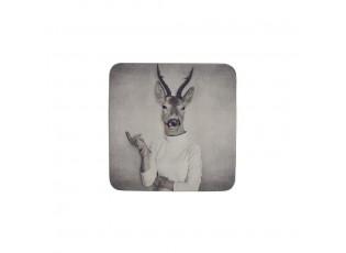 Podtácek s potiskem ženy s jelení hlavou ( 6ks ) - 10*10*0,4cm
