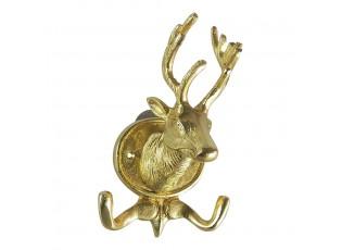 Zlatý kovový háček s hlavou jelena - 13.5*11*23cm