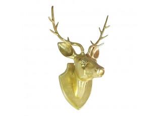 Zlatá nástěnná kovová hlava jelena  - 34*24cm